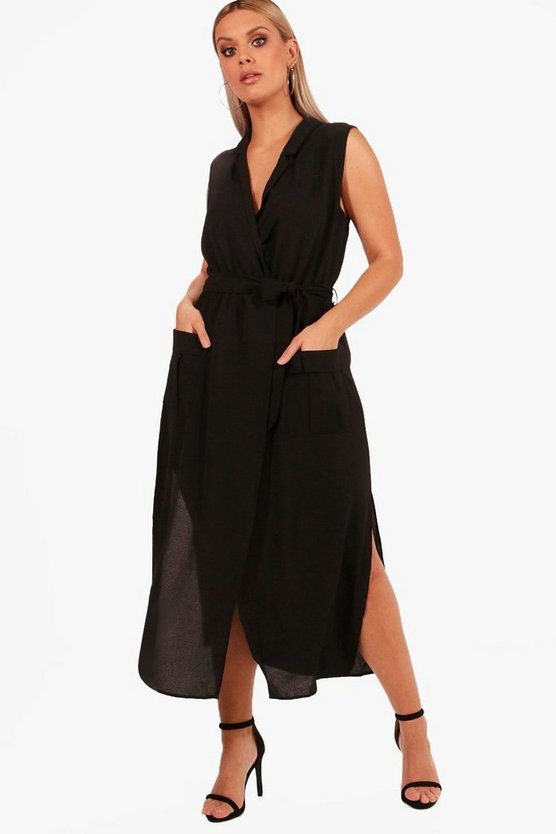 Womens Black Plus  Utility Wrap Dress