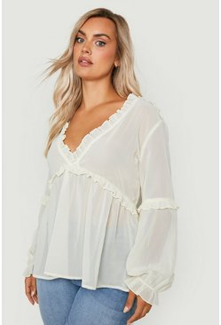 Womens Ecru Plus Ruffle Detail Plunge Blouse