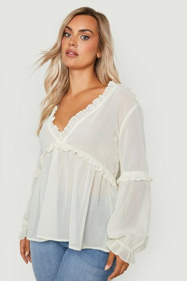 Ecru Plus Ruffle Detail Plunge Blouse