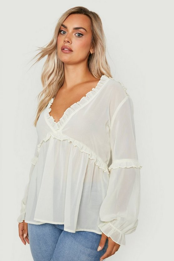 Plus Ruffle Detail Plunge Blouse