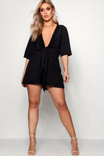 Black Plus Knot Front Plunge Playsuit