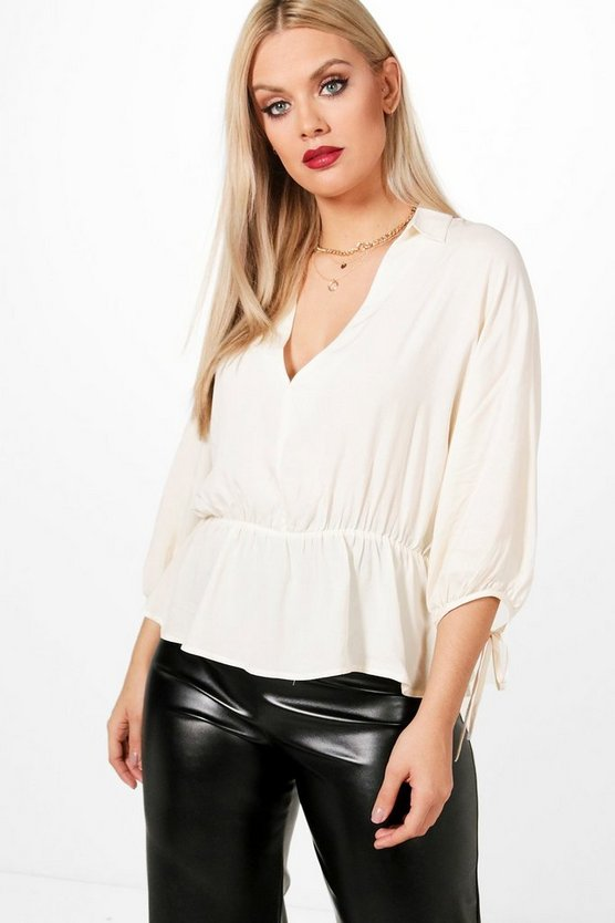 Plus Liv Gathered Waist Batwing Top