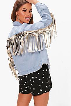 Petite Paige Metallic Pu Fringe Denim Festival Jacket