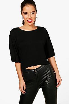 petite pleat front sleeve basic t-shirt
