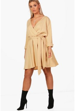 Womens Sand Plus Wrap Front Skater Dress