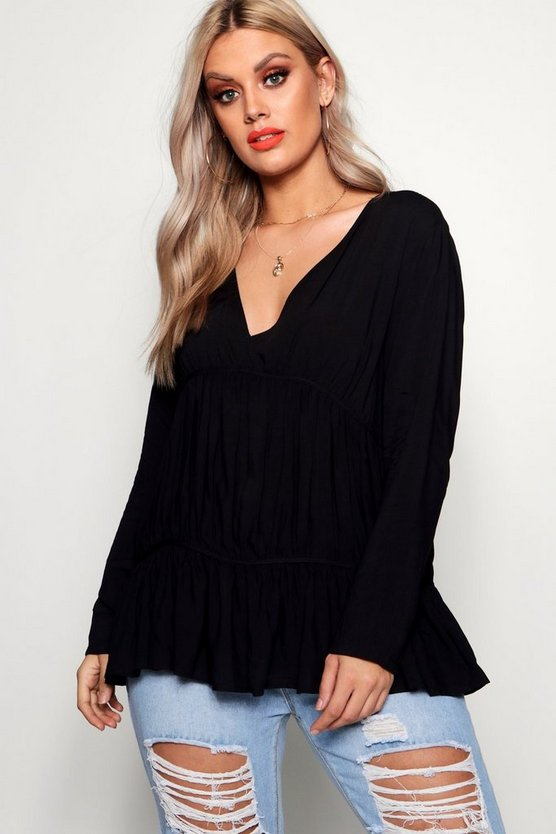 Plus Gathered Front V Neck Blouse
