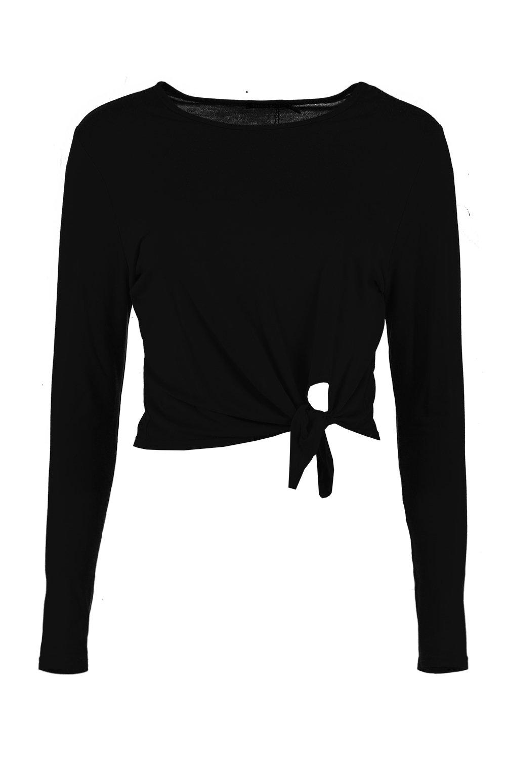 Tie Sleeve Petite Long Front black Top Yvzzxqw