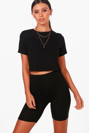Womens Black Petite  Basic Cropped T-Shirt