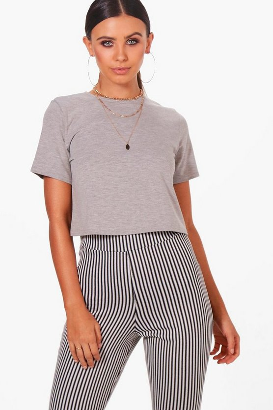 Womens Grey marl Petite Basic Cropped T-Shirt
