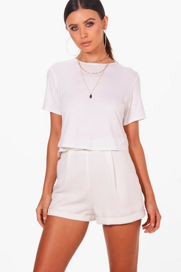 Womens White Petite  Basic Cropped T-Shirt