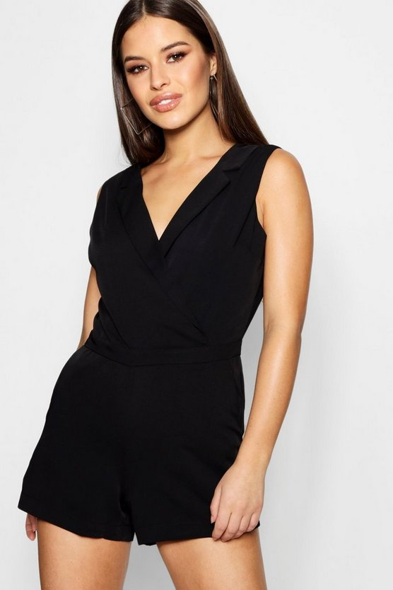 Petite Tailored Woven Wrap Front Playsuit