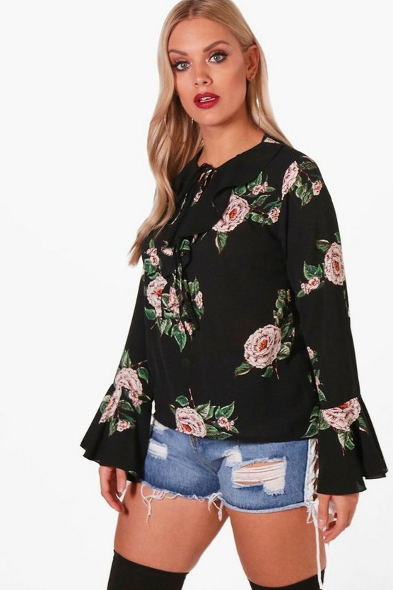 Plus Floral Ruffle Shirt