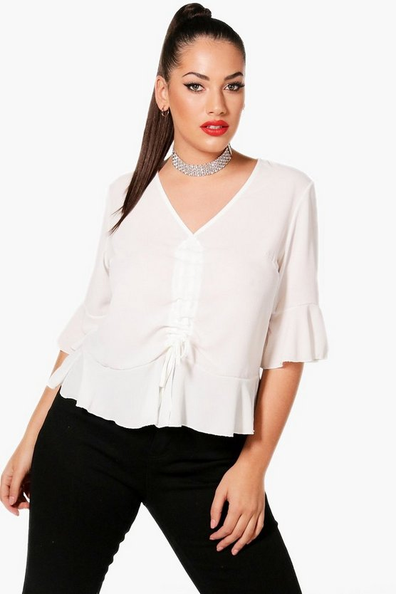 Plus Rouched Front Woven Blouse