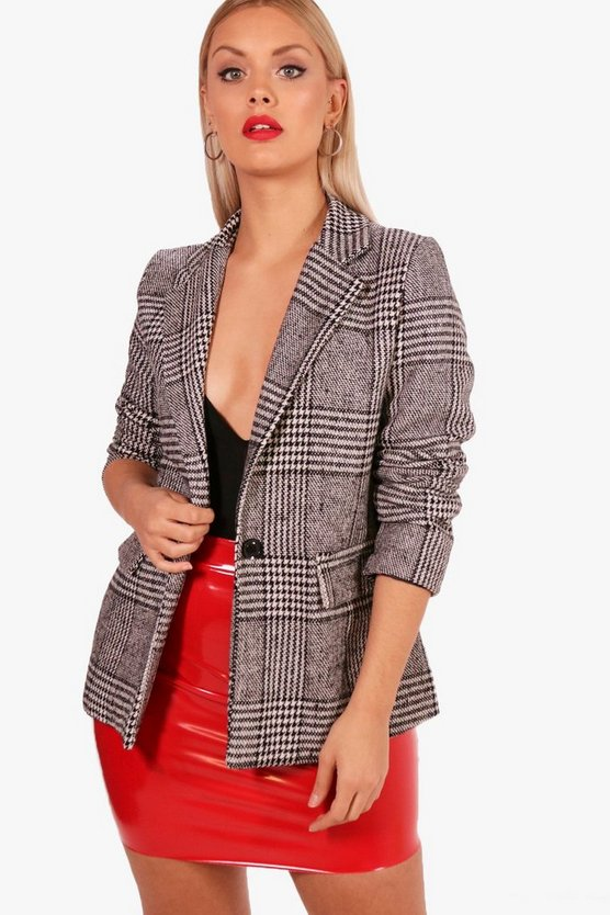 Plus Evie Wool Look Checked Blazer