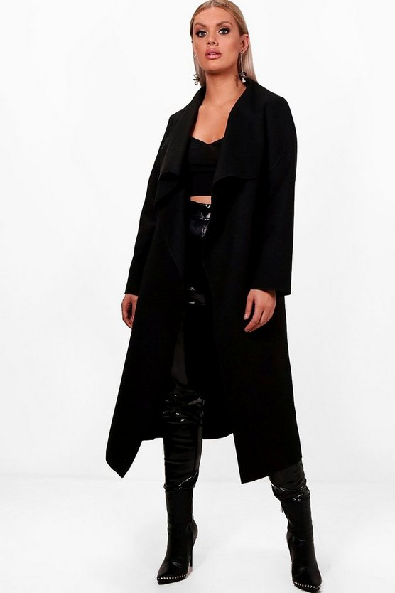 Womens Black Plus Wrap Wool Look Coat