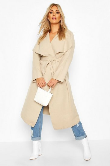 Womens Stone Plus Wrap Wool Look Coat