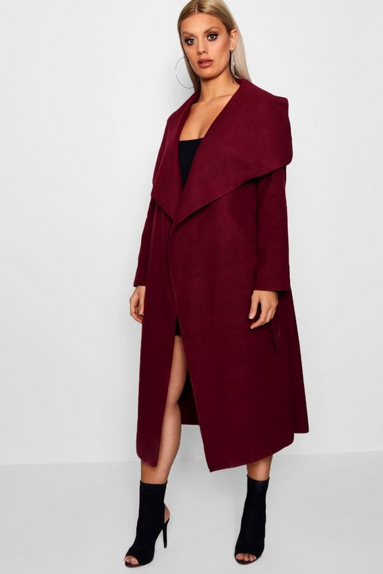 Womens Wine Plus Wrap Wool Look Coat