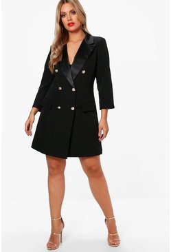 Dam Black Plus  Button Tuxedo Dress