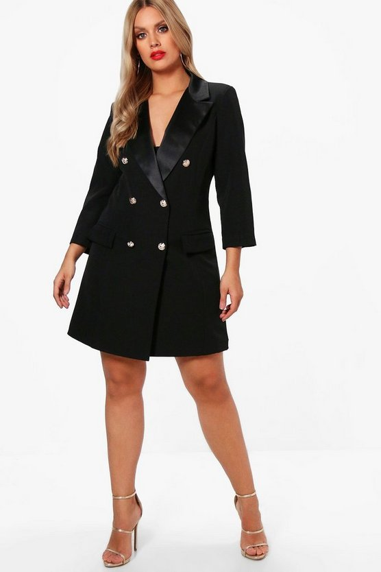 Womens Black Plus Button Tuxedo Dress