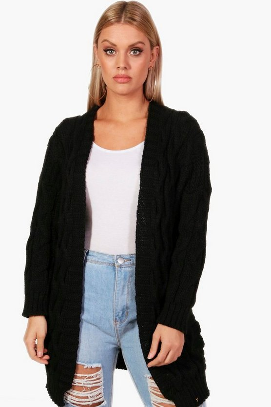 Plus Cable Detail Oversized Cardigan