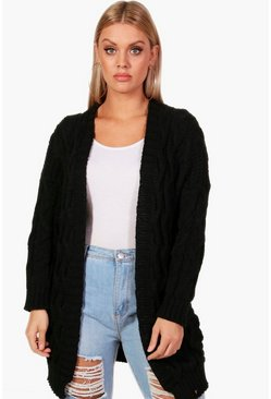 Womens Black Plus Cable Detail Oversized Cardigan