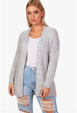 Womens Grey Plus Cable Detail Oversized Cardigan