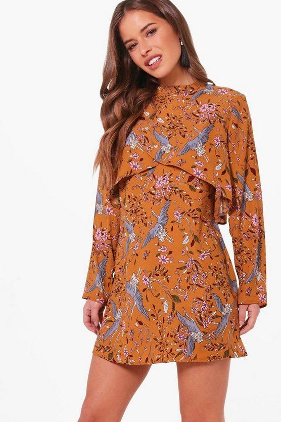 Petite Floral Double Layer Shift Dress