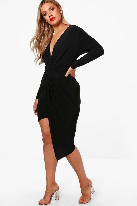 Black Plus Slinky Long Sleeve Plunge Wrap Dress