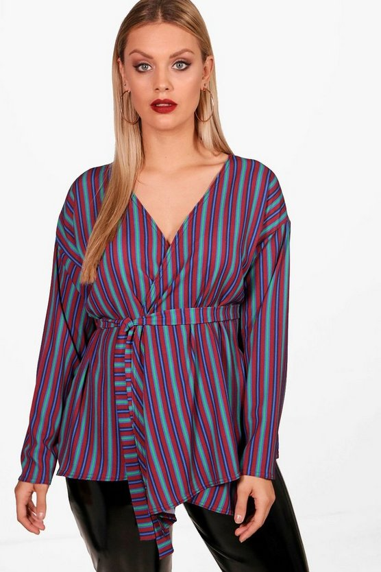 Plus Jade Stripe Wrap Tie Top