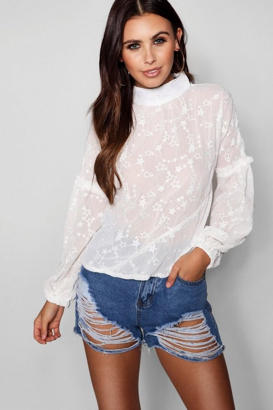 Petite Star Embroidered Exaggerated Sleeve Blouse