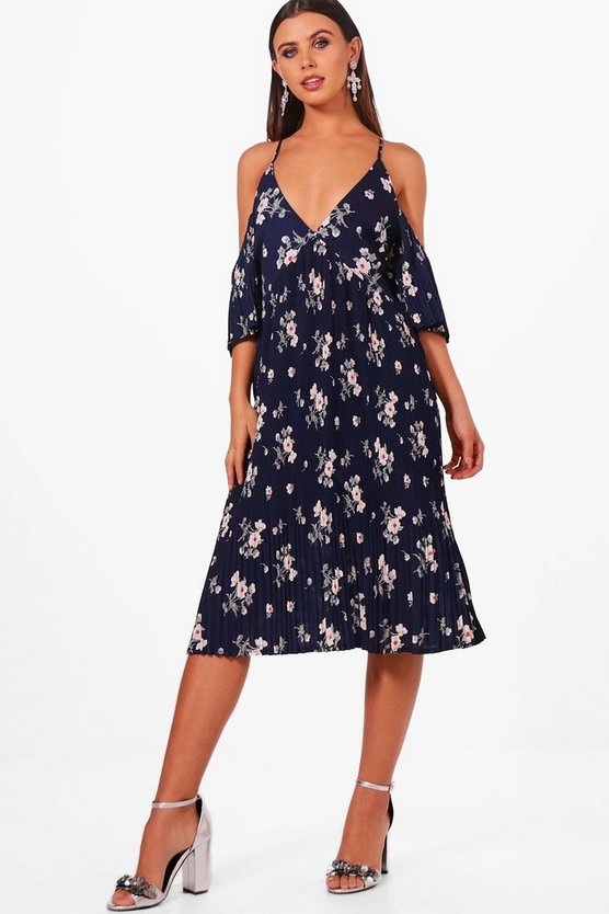 Petite Pleat Hem Midi Tea Dress