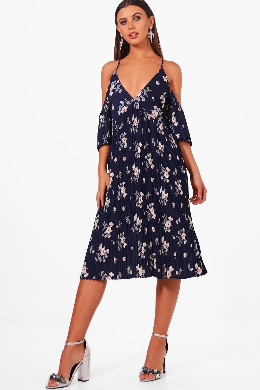 Boohoo Womens Petite Florrie Pleat Hem Midi Tea Dress