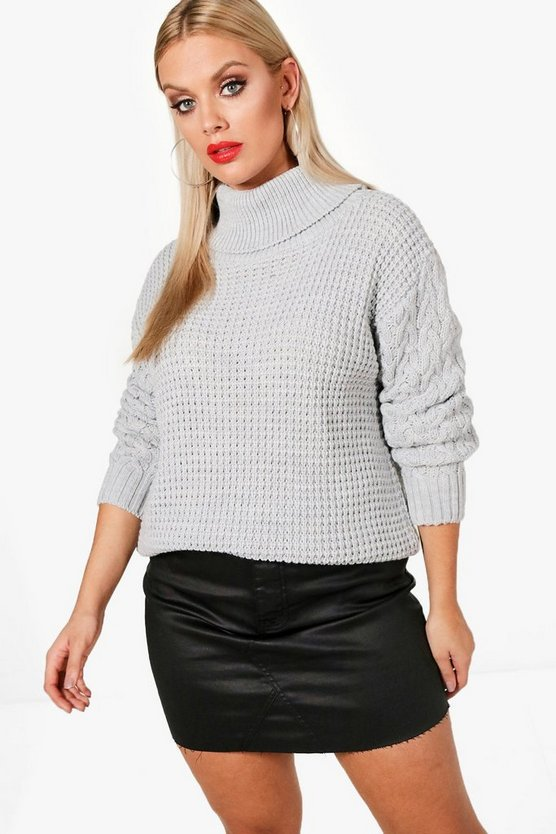 Plus Cable Sleeve Turtle Neck Jumper