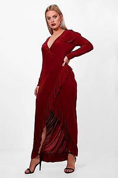 60s 70s Plus Size Dresses, Clothing, Costumes Plus Wrap Ruffle Midi Dress $46.00 AT vintagedancer.com