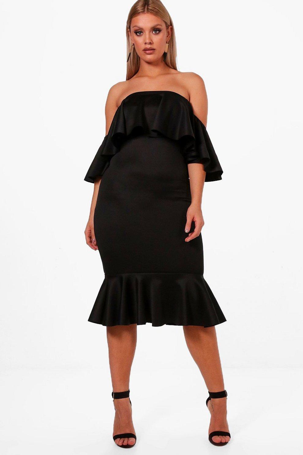 43e7c2ba95 Womens Black Plus Off Shoulder Frill Midi Dress