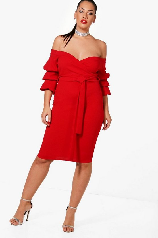 Womens Red Plus Off Shoulder Ruched Dress