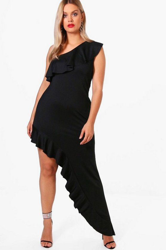 Plus Ruffle Detail Asymmetric Maxi Dress
