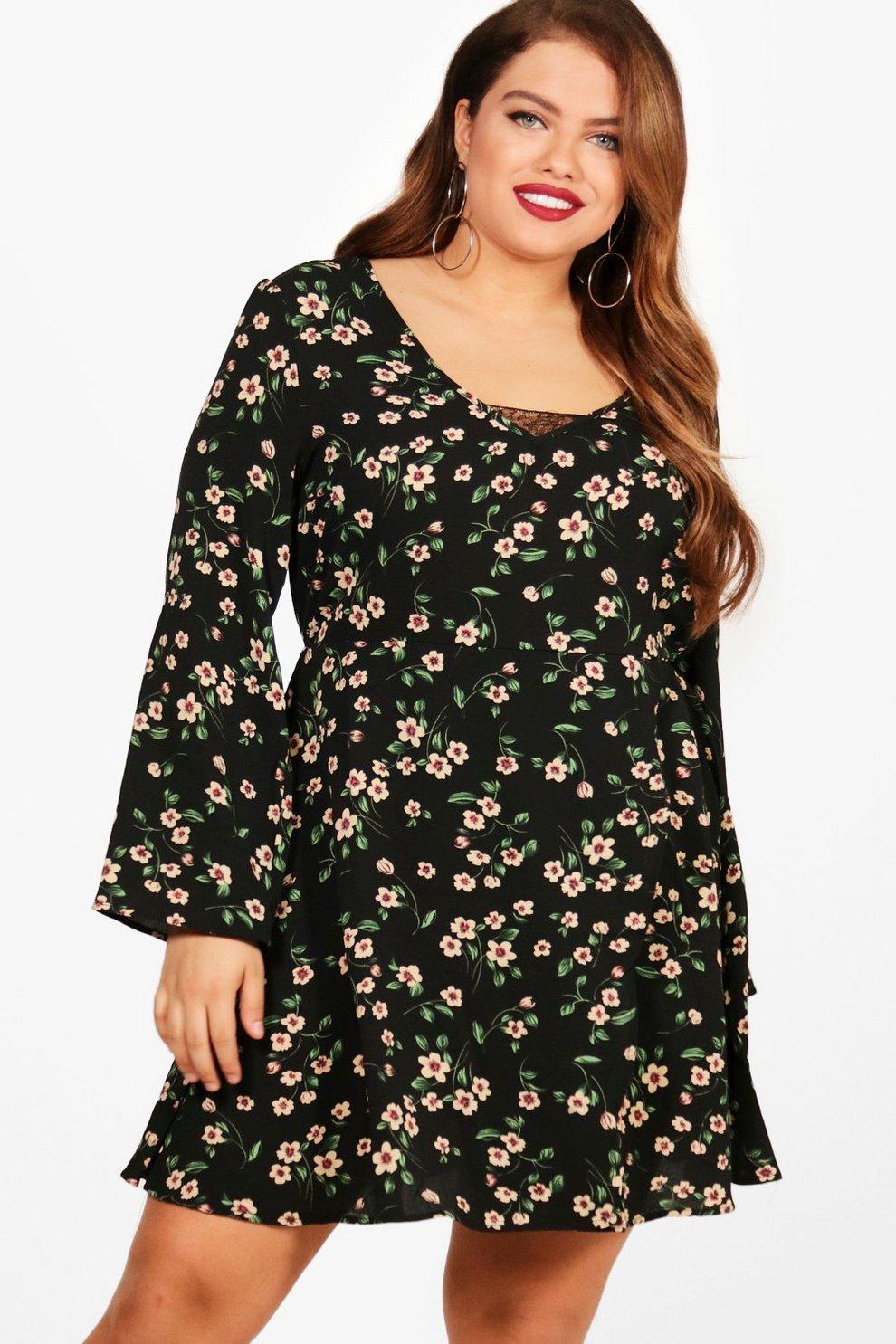 ef431a22695bd Womens Black Plus Floral Lace Insert Skater Dress