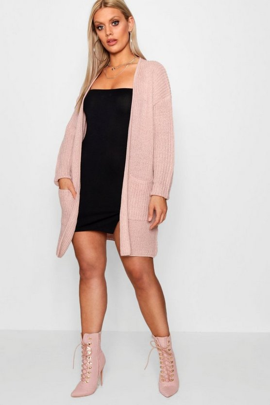Plus Boyfriend Chunky Knit Cardigan