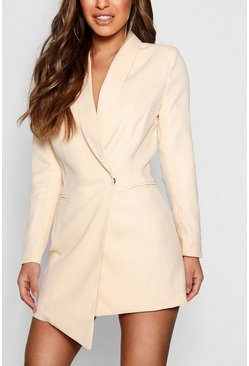 Womens Nude Petite Asymmetric Blazer Dress