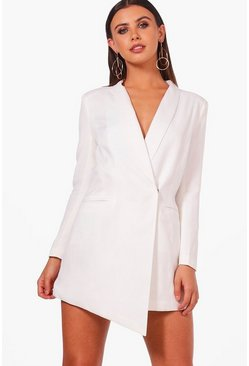 Dam White Petite Asymmetric Blazer Dress