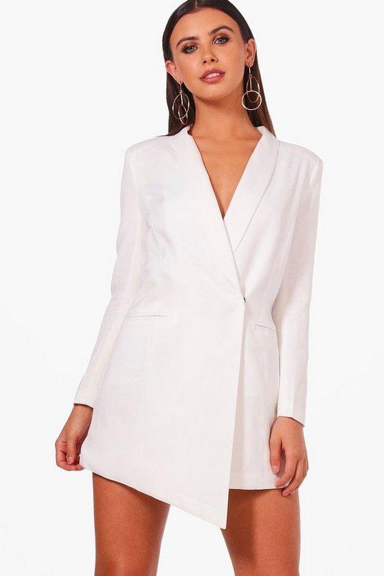 Petite Asymmetric Blazer Dress