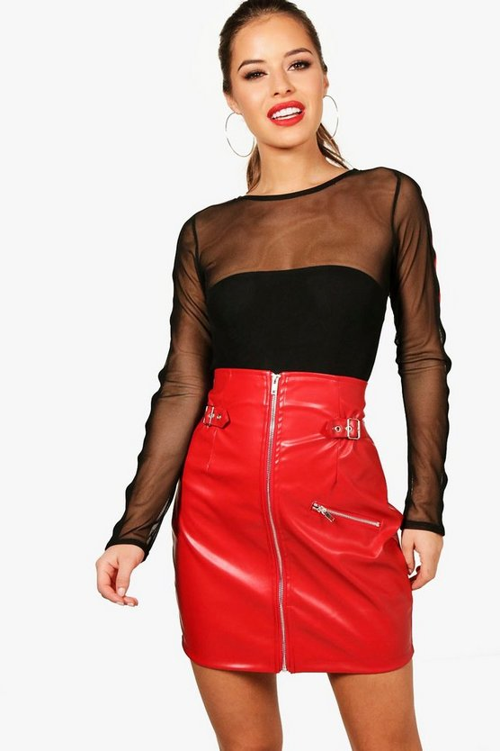 Womens Red Petite  Extreme High Waisted Buckle PU Skirt