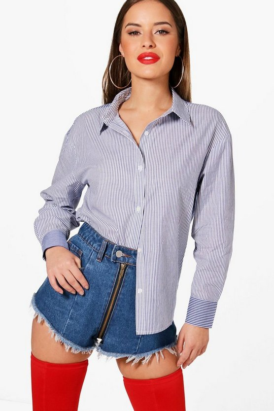 Petite Contrast Stripe Over Sized Shirt