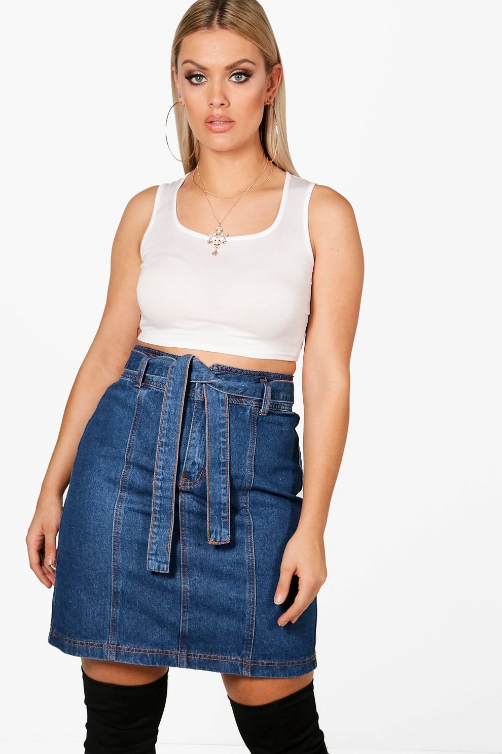 8f399c6243 Womens Mid blue Plus Paper Bag Waist Denim Skirt