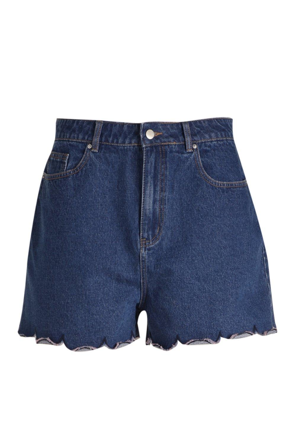 bajo Plus medio Denim cortos Azul Scallop Pantalones con TO6vwqt