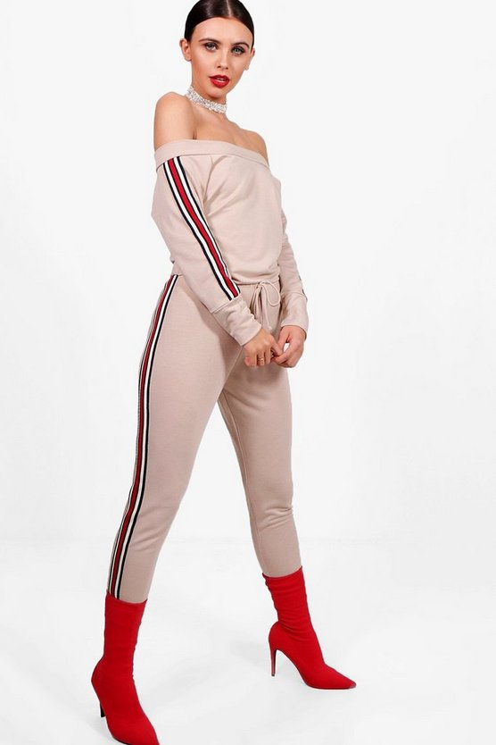 Petite Sports Trim Lounge Jumpsuit