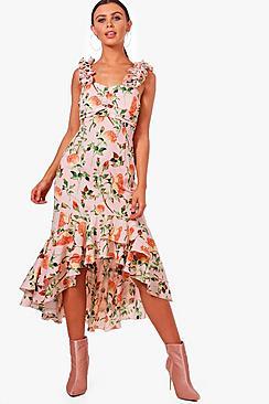 1930s Style Dresses | 30s Art Deco Dress Petite Paige Floral Ruffle Sleeve Drop Hem Dress $32.00 AT vintagedancer.com