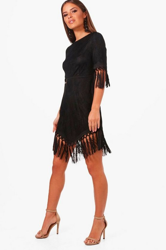 Womens Black Petite  Lace Tassel Trim Skater Dress