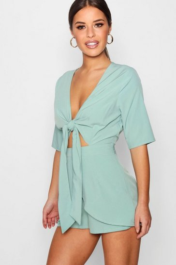 Womens Green Petite Knot Front Plunge Playsuit